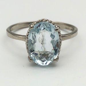 7.59 Crt Natural Aquamarine 925 Silver Ring